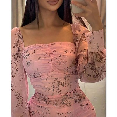 Floral Print Dresses Women Long Sleeve Square Neck Floral Dress Fashion Office Lady Sexy Dress Shirt Bodycon Party Vestidos