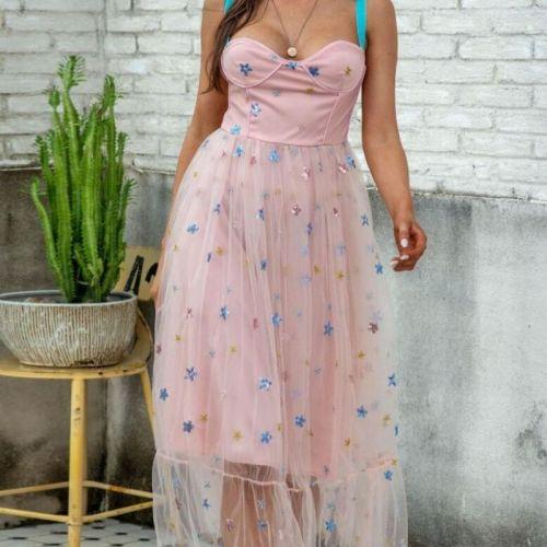 Blue Stars Sequins Dress 2021 Summer Pink Mesh Sweet Embroidered Sleeveless Fashion Spaghetti Dresses