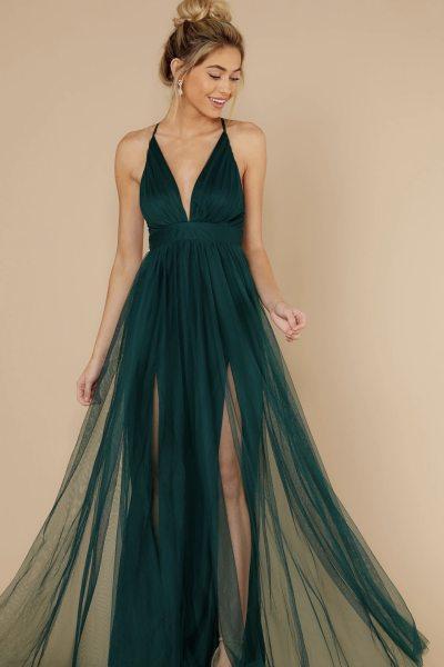 2021 Summer Women's Sling Sexy Deep V Mesh Sling Dress Slim Beach Boho Female Long Dresses Chiffon Party Fashion Green