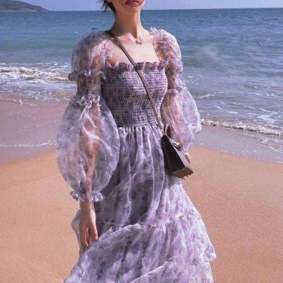 2021 Summer Lace Elegant Midi Dress Women Puff Sleeve Square Collar Boho Beach Floral Dress Female Party One Piece Dress Korean