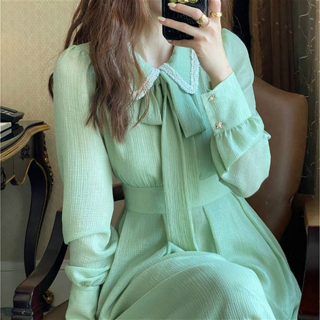 French Retro Dress Women Casual Ruffled Collar Long Sleeve Vintage Bow Solid Fairy Chic Party One-Piece Dress Women Korean Style