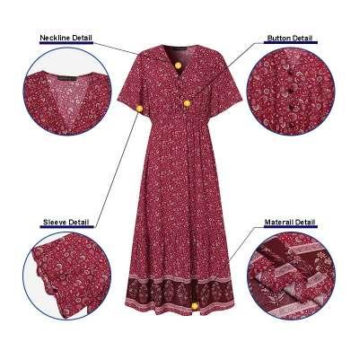 Elegant Summer Dress Women's Print Sundress 2021 Casual Short Sleeve Maxi Vestidos Female Floral Robe Femme Plus Size 7