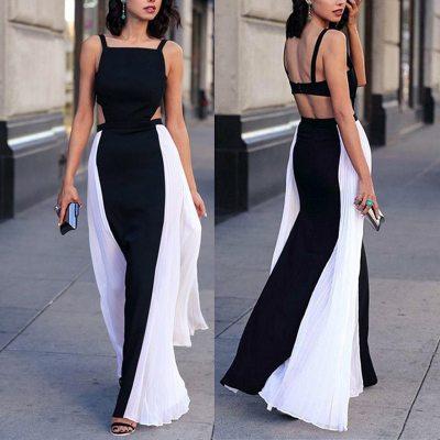 Elegant Black White Colorblock Big pleated Maxi Dress Women Spaghetti Strap Hollow Out Back Big Pose Dress