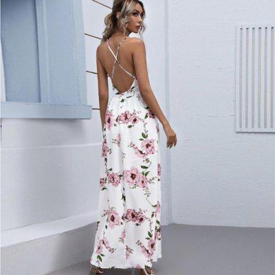 Women's Sexy Strap Dress 2021 Summer New Fashion Sleeveless White Chiffon Slim Chest Wrapped Temperament Casual Street Dress