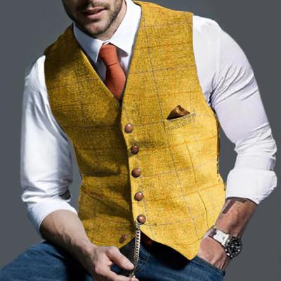 Mens Suit Vest Notched Plaid Wool Herringbone Tweed Waistcoat Casual Formal Business Groomman For Wedding Green/Black/Green/Gray