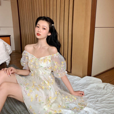 French Floral Dress Women Sexy Puff Sleeve Lace Chiffon Print Mini Dress Women Summer Korean Style Vintage Fairy Dress New 2020