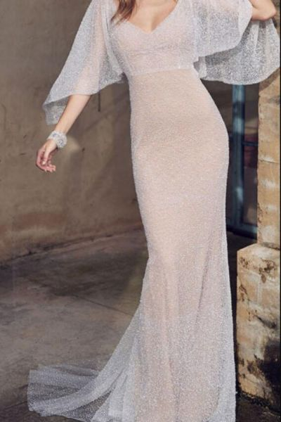 Fashion Elegant Caped White Lace Evening Dress Sexy Deep V-neck Backless Prom Dress Vestido De Fiesta Banquet Party Formal Gown