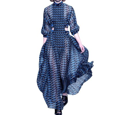 Runway Dresses Women Blue Stripes Printed Fashion Long Sleeves High Neck Hollow Out Floor Length Charming Party Dress Newest
