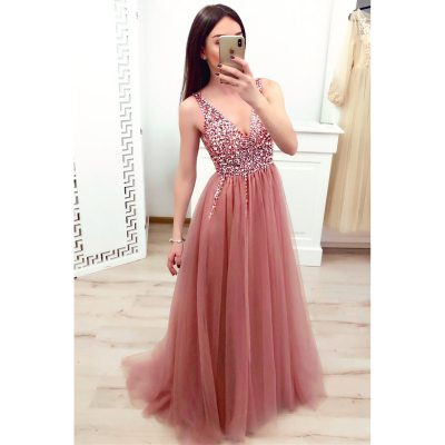 Women Party Dress Lace Pink Embroidered Beads Sexy Deep V Sleeveless Solid Floor-Length Dress Elegant