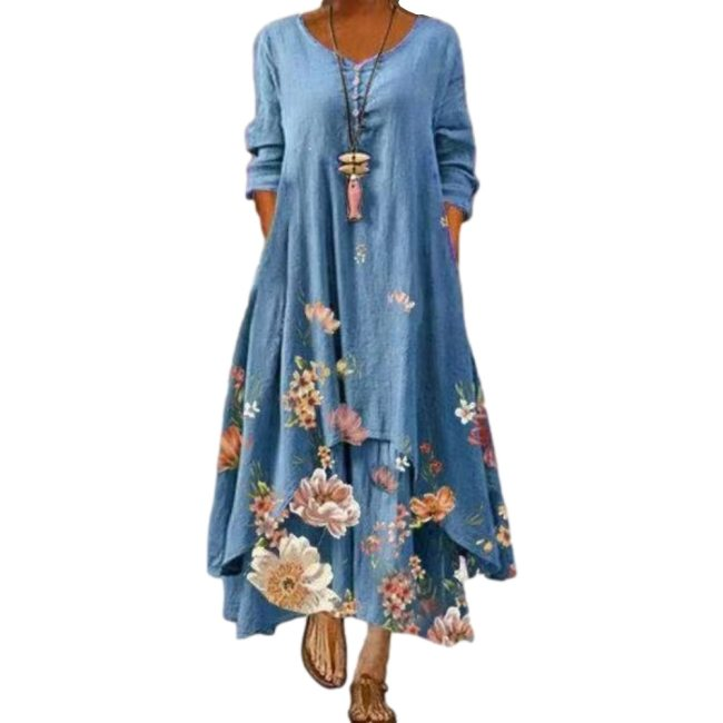Dress 2021 summer style European and American fashion popular printed long sleeved dress female ins online trend hot sale B060