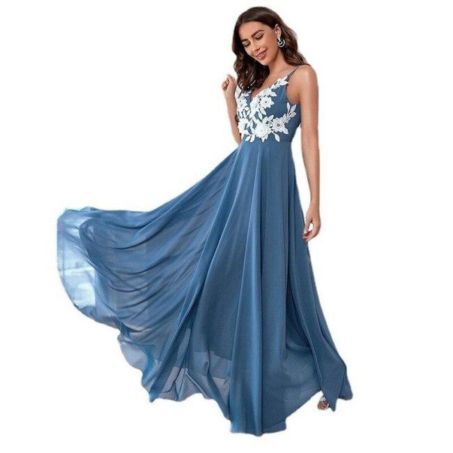 Women Backless Dress Summer Solid Color Office Lady Spaghetti Strap Fashion Chiffon Long Dress Blue Vestido Feminino Donsignet