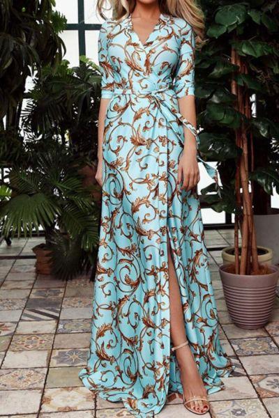 Retro Floral Print Sashes Long Dress Women Split High Waist Bohemian Maxi Dress Long Sleeve Summer Beach Dresses Robe Femme
