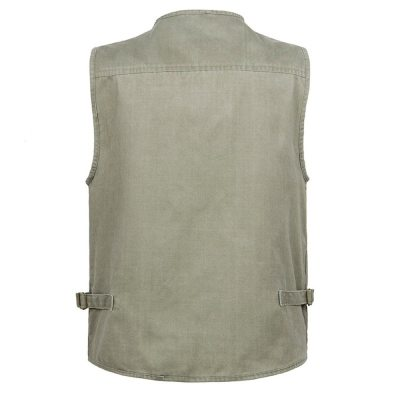 New Male Casual Summer Big Size Cotton Sleeveless Vest With Many 16 Pockets Men Multi Pocket Photograph Waistcoat