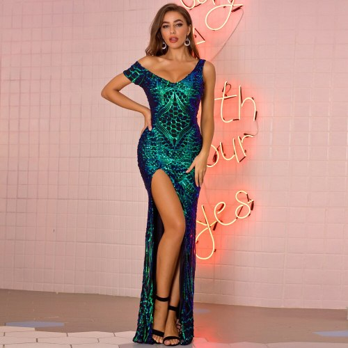 Women Chic Evening Celebrity Party Dress Sexy Elegant Irregular Sequin Maxi Dress Birthday Outfits Dress Clothes New