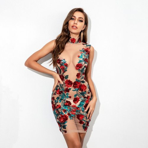 2021 New Summer Red Blue Sleevele Sequins Dress Sexy Bodycon Sheath Gold Pattern High Neck Party Dresses Nightclub Vestidos