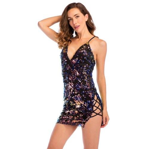 Sequins Sexy Deep V Neck Dress 2020 Women Sleeveless Backless Cross Bandage Zipper Bodycon Mini Dress Night Club Wear