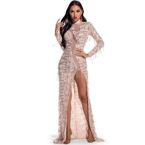 Black Fashion Sequin Gowns Women Long Sleeve High Collar Elegant Mesh Sexy High Split Celebrity Party Long Dresses 2021