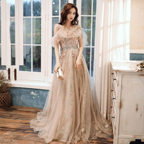 Spaghetti Exquisite Appliques Evening Party Gown Cheongsam Elegant Dress Qipao Bridal Wedding Dress Maxi Dress Robe De Soiree