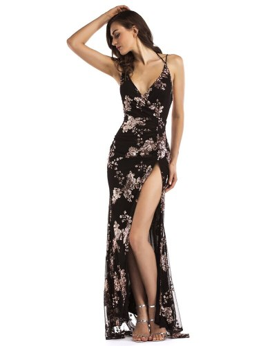 Sexy V-neck Suspenders Sequined Cockatiel Dresses Floor-length Prom  High Split Backless Vesyidos De Fiesta Sleeveless Gown
