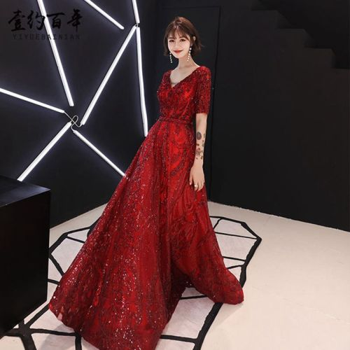Plus Size 3XL Red Wedding Bride V-Neck Dress 2019 Spring Summer Slim Cheongsam Floor Length Oriental Qipao High Quality Vestido