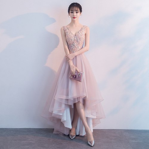 Pink Lace Elegant Irregular Evening Party Gown 2021 Sexy Deep V-neck Backless Embroidery Party Dresses Vestidos Formal Dress