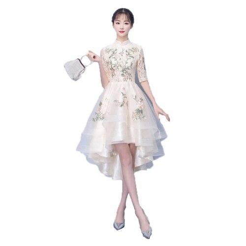 Women party dress champagne 2021 spring new plus size slim Short sleeve standing collar temperament dress vestido feminina JD627