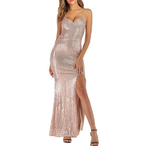 Party Night Maxi Dress 2021 Women Sexy Elegant Sequin Clubwear Dress Sleeveless Deep V Neck Long Dresses Vestidos