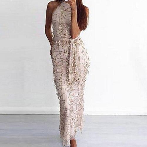 Women Sexy Shiny Halter Sleeveless Sequin Tassel Evening Party Dress Female Fashion Elegant Zipper Long Dresses 2020 New Dresses