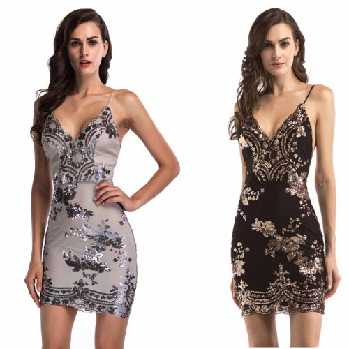 Wavaiov 2021 Sexy Sundress Luxury Party Club Dresses Charming V-Neck Backless Mini Women Dress 5 color Gold Black Sequin Dresses