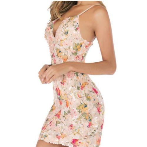 Women Summer Sequins Dress Sexy  V-Collar Sleeveless Dress Party Club Female Dress Maximum Asian Size S-XL
