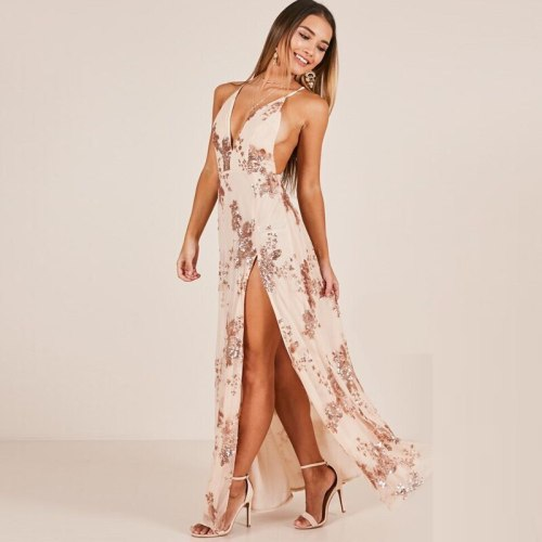 Wonder Gold Maxi Long Sequin Night Party Dress Backless V Neck Sleeveless Dresses Sexy Side Split Lady Vestidos De Festa 2021