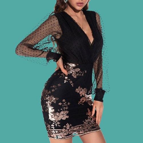 Fashion Temperament Elegant Sexy Dress Perspective Net Yarn 2021 Spring Summer Thin Sequins High Waist V-neck Long Sleeve