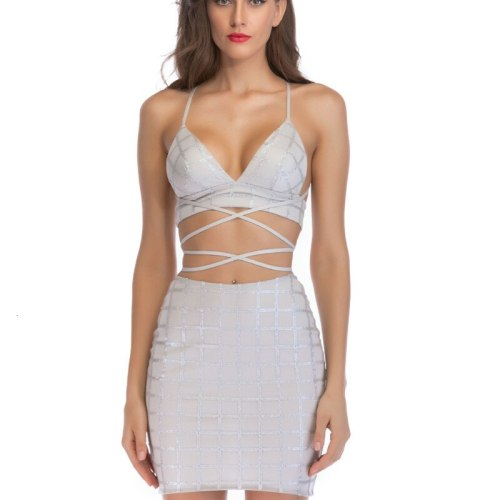 #1835 Summer Mini Dress Women With Sequins Sleeveless Sexy Skinny Bodycon Dress Ladies Grey Backless Sequin Party Dresses Tight
