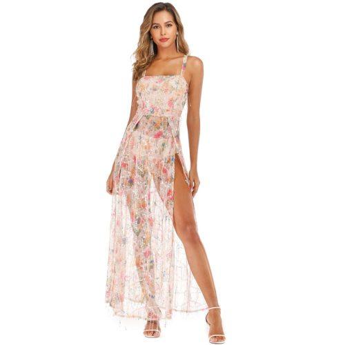 Gorgeous Sequin Floral Sheer Mesh Bodysuit Dress Women Sleeveless Cross Criss High Split Bodycon Maxi Club Party Dress