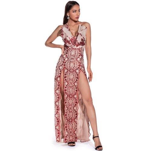 Strap Red Sequined Stretchy Party Dress Hollow Out Split Leg Floor Length Bodycon Long Dresses Sexy Evening Party Dress