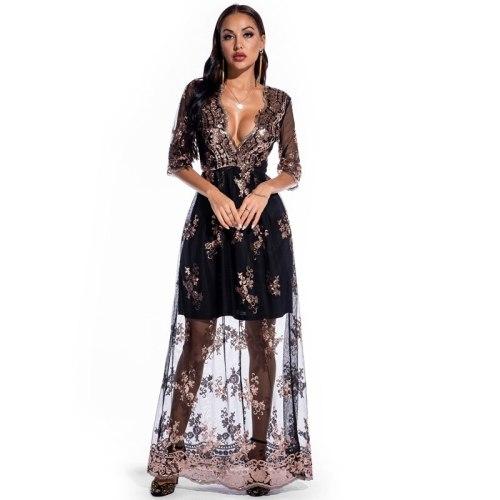 Plus Size Women Dress 2021 Party Night Sequined Dresses Half Sleeve Vintage Sexy Maxi Dresses  Elegant Vestidos