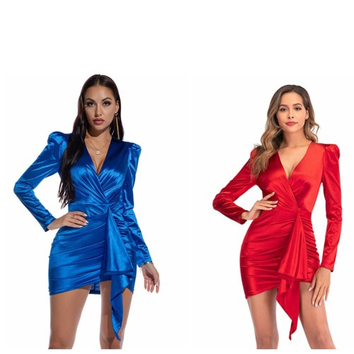 Sexy Long-sleeved V-neck Red Dress Ladies Streetwear Party Elegant Spring Autumn Club Mini Dresses For Women Fashion Solid Color