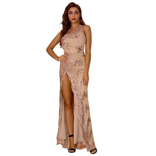 One Shoulder Sequined Stretchy Party Dress Hollow Out Split Leg Floor Length Bodycon Long Dresses Vestidos Longo