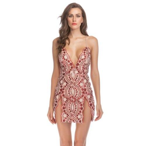 Sequin V-Neck Sexy White Nightclub Printed Backless Summer Bodycon Clothes Beading Glitter Slit Spaghetti Strap Dress