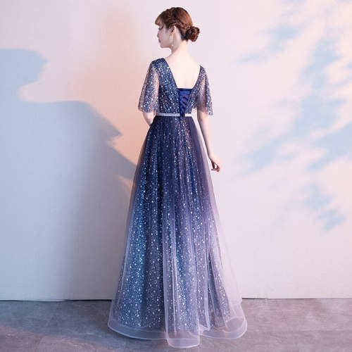 Sexy V-Neck Sart Moon Sequins Applique Gradient Evening Dress Women Bandage Formal Gowns Robe De Soiree Cheongsam 3XL