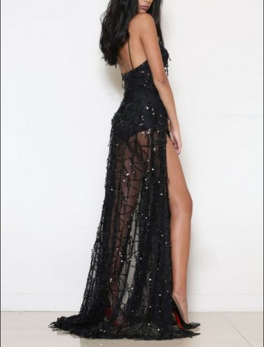 Heavy Metal Long Dress Sequined Fringed Party Dress Women Sexy Slit Dating Perspective Halter Evening Vestidos Female