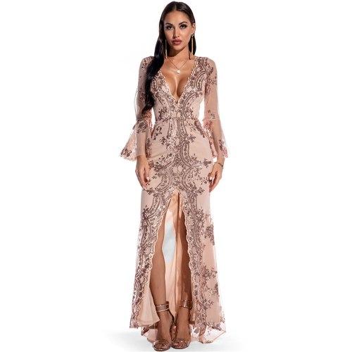 Women Dress Elegant V neck Mesh sequin stitching Long Sleeve  2021 Autumn Winter Party Lady Long Slim Dress High Quality #40