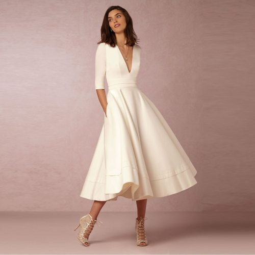 Elegant A-Line V Neck White Maxi Half Sleeves Simple Sexy Night Club Long Solid Color Female Office Casual Pink Navy Dress B209