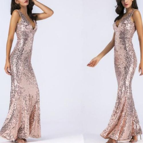 Sexy Backless Sequin maxi summer Dress women Pink elegant bodycon Long Dresses woman night club party dress clothes vestidos New