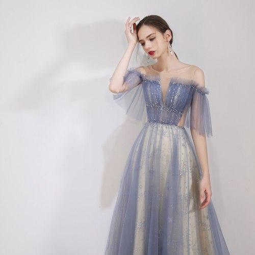 Fairy Tulle Off The Shoulder Sequins Beading Lace Up Robe De Soiree Pleated A-line Long Formal Evening Dresses Vestidos De Festa
