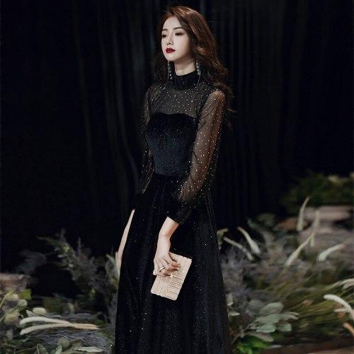 Ladies Black Long Evening Dresses Long Sleeves Velour Prom Dress Elegant A-Line Formal Gowns vestidos вечернее платье