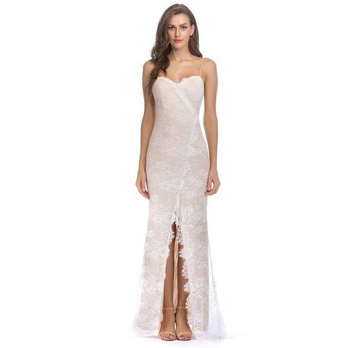 Sexy Floral Lace White Slip Dress Summer V-neck Vestidos Feminino Empire Long Frocks for Women Casual Backless Split Party Dress