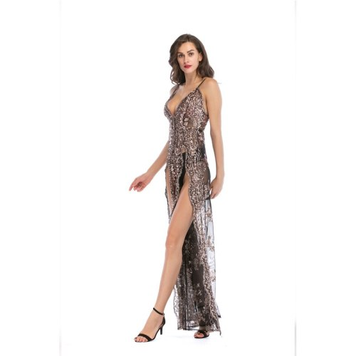 A-Line Spaghetti Straps V-neck Sexy Backless Sequins Long Dress Applique High Split Summer Night Club Solid Color Women Dress