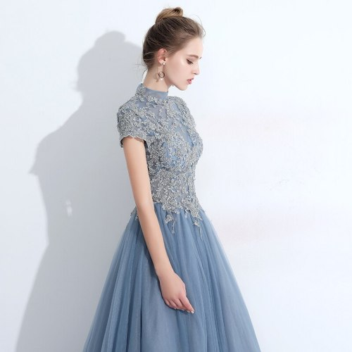 New arrival blue long lady girl women princess bridesmaid banquet party ball dress gown