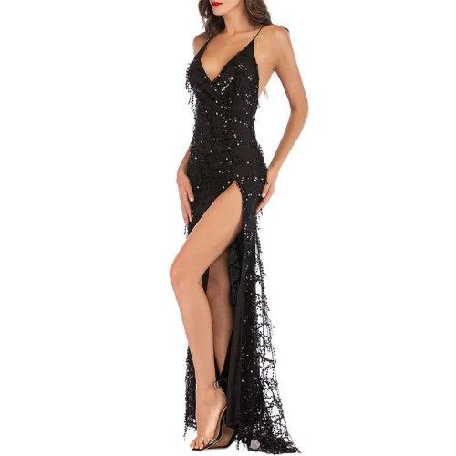 Sexy Evening Dresses Long V-Neck Backless Sequined Tassel A-Line Sleeveless Floor-Length Formal Dress Women Long Dresses Evening